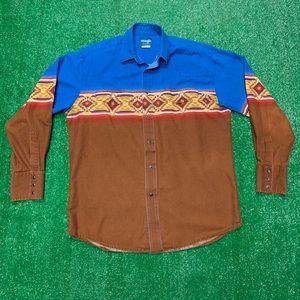 Vintage Wrangler Aztec Tribal Western Cowboy Shirt